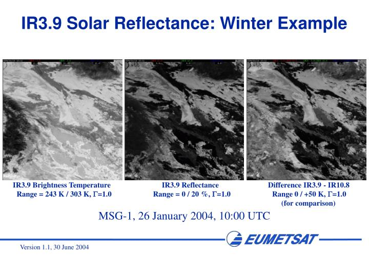 IR3.9 Solar Reflectance: Winter Example