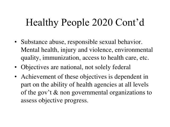 Healthy People 2020 Cont'd
