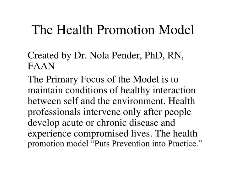 The health promotion model