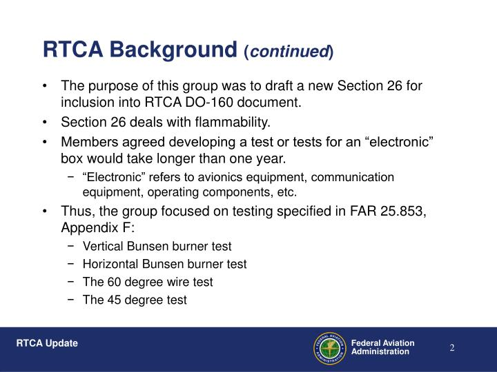 Rtca background continued