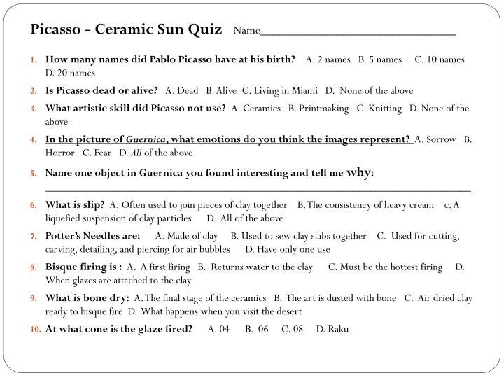 Picasso - Ceramic Sun Quiz