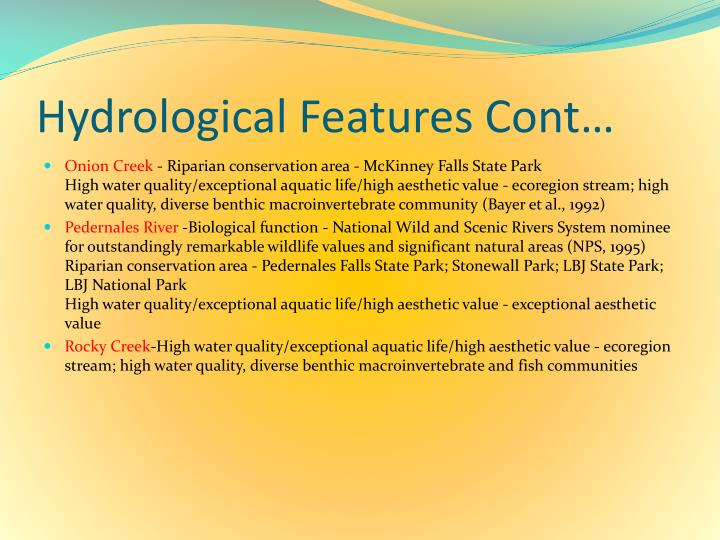 Hydrological Features Cont…