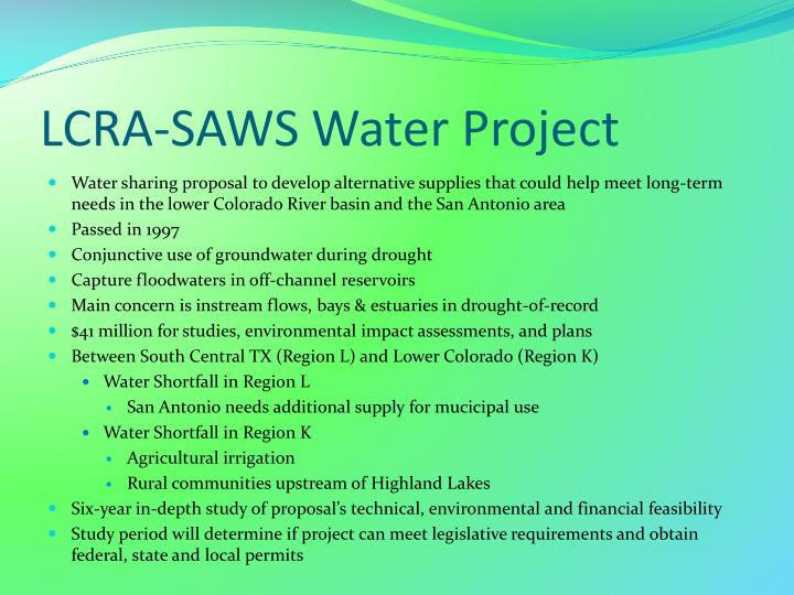 LCRA-SAWS Water Project