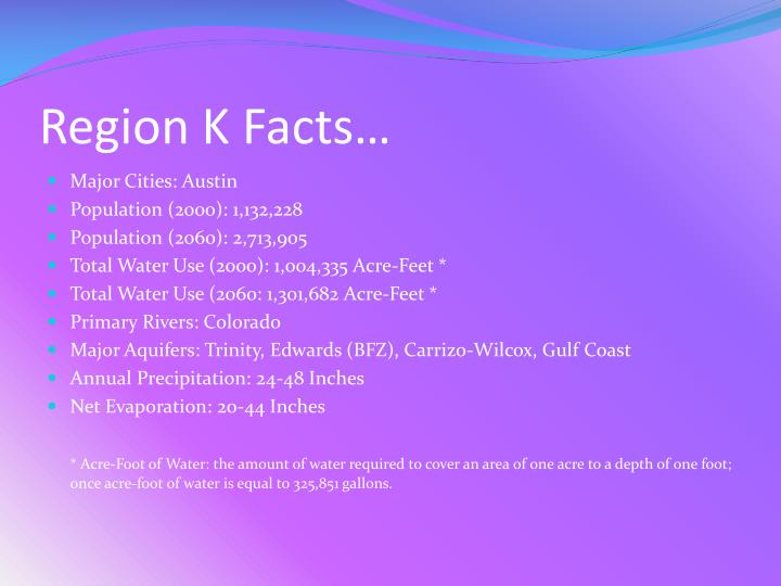Region K Facts…