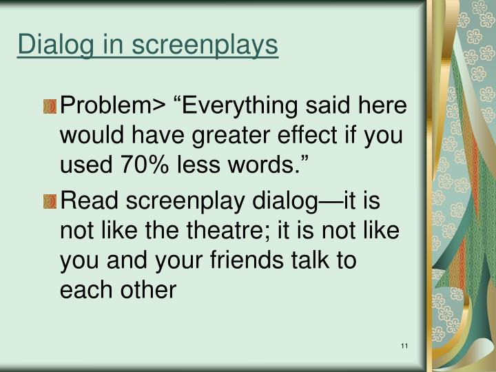 Dialog in screenplays