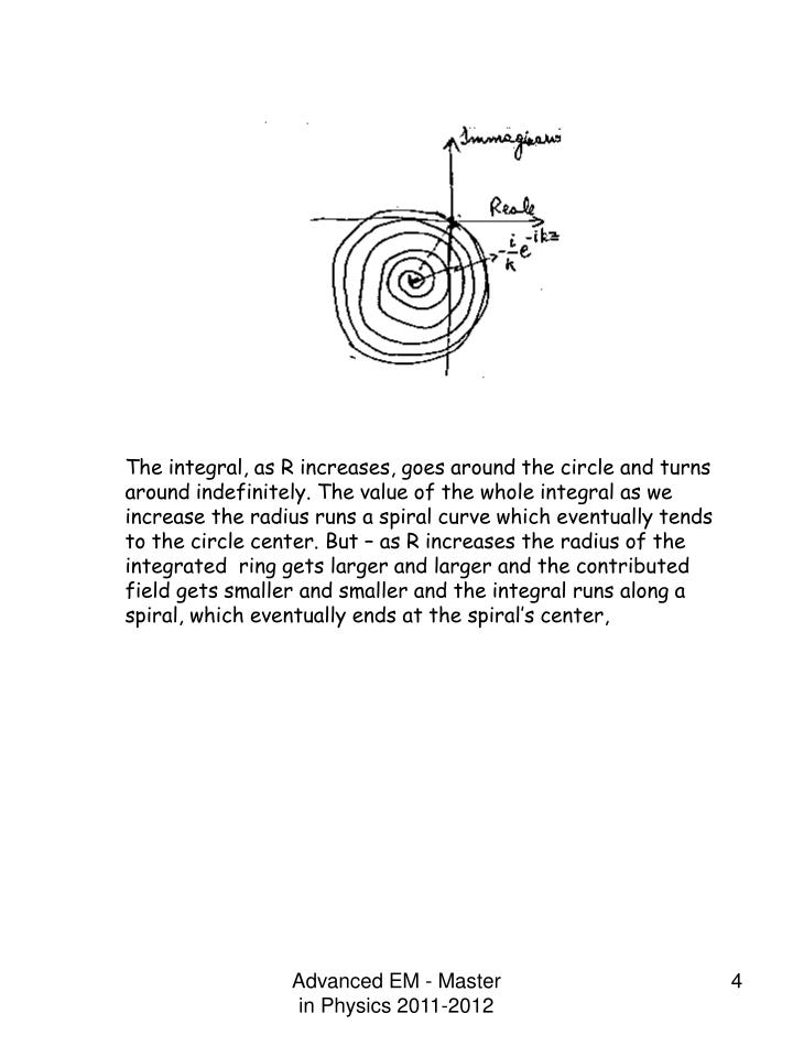 The integral, as R increases, goes around the circle and turns around indefinitely. The value of the whole integral as we increase the radius runs a spiral curve which eventually tends to the circle center. But – as R increases the radius of the integrated  ring gets larger and larger and the contributed field gets smaller and smaller and the integral runs along a spiral, which eventually ends at the spiral's center,