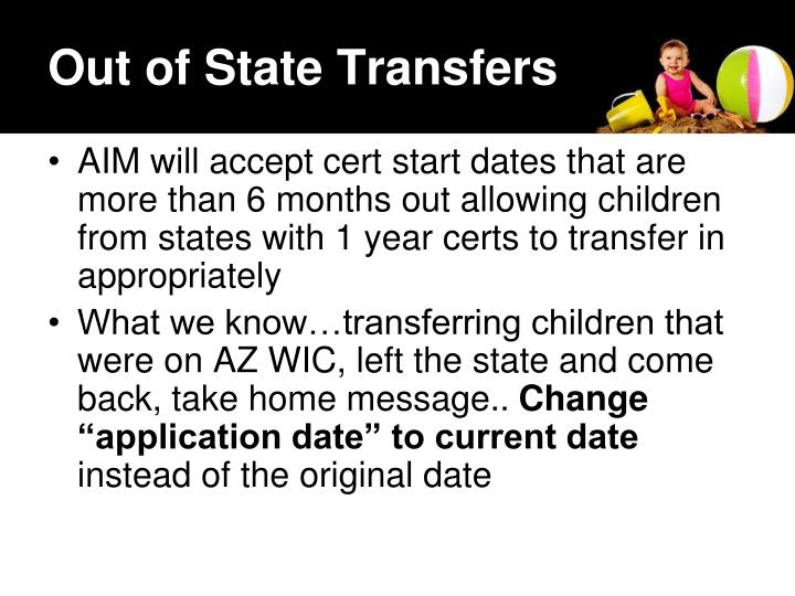 Out of State Transfers