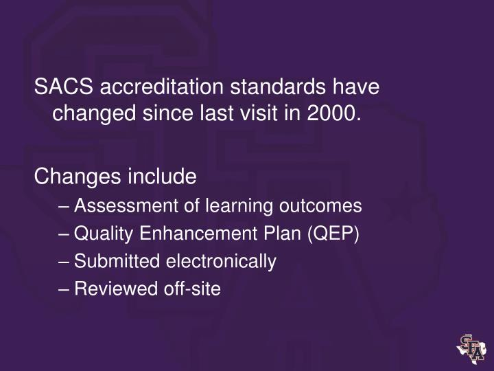 SACS accreditation standards have changed since last visit in 2000.