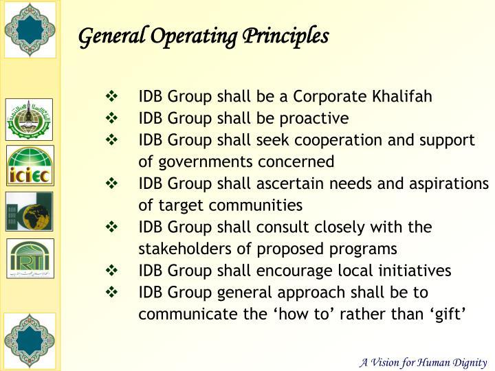General Operating Principles