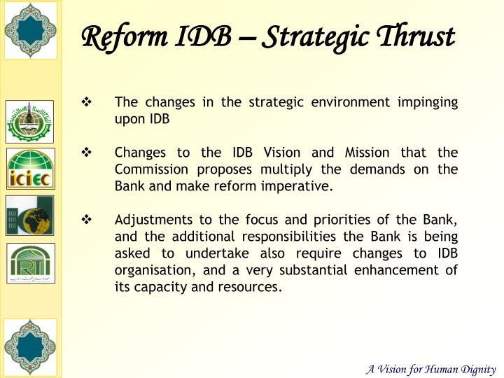 Reform IDB – Strategic Thrust