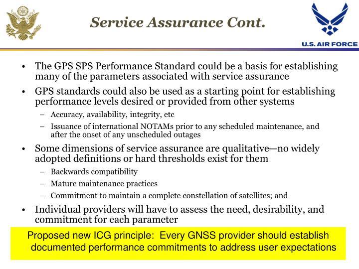 Service Assurance Cont.