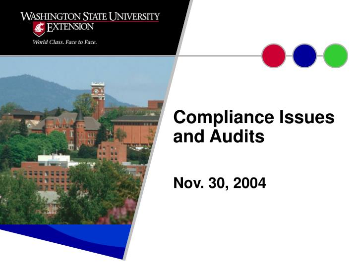 Compliance issues and audits