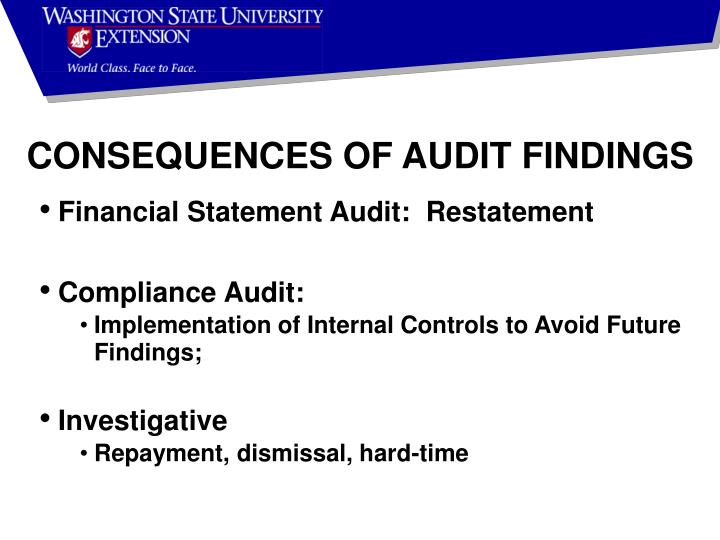 CONSEQUENCES OF AUDIT FINDINGS