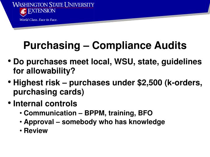 Purchasing – Compliance Audits