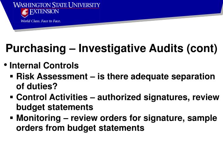 Purchasing – Investigative Audits (cont)