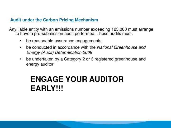 Audit under the Carbon Pricing Mechanism
