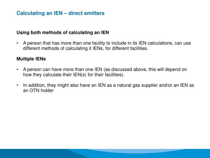 Calculating an IEN – direct emitters