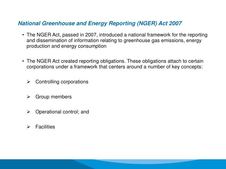 National Greenhouse and Energy Reporting (NGER) Act 2007