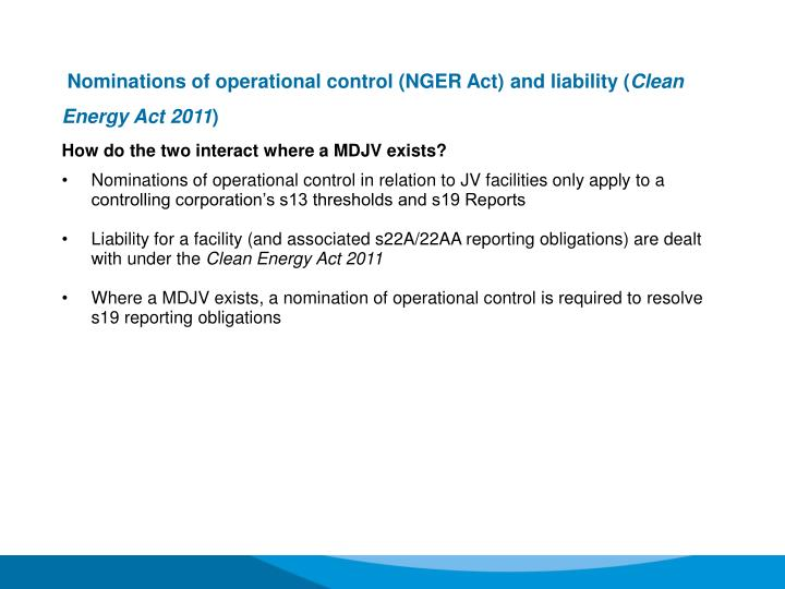 Nominations of operational control (NGER Act) and liability (