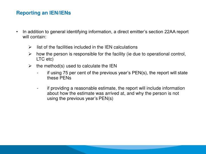 Reporting an IEN/IENs