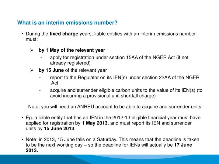 What is an interim emissions number?