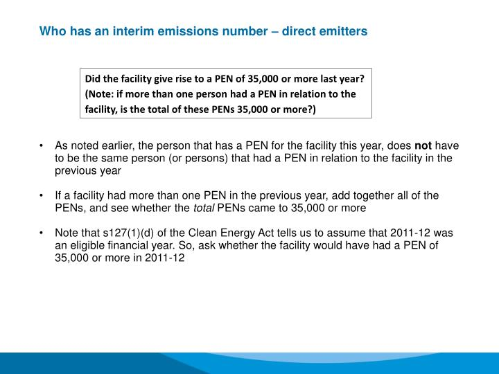 Who has an interim emissions number – direct emitters