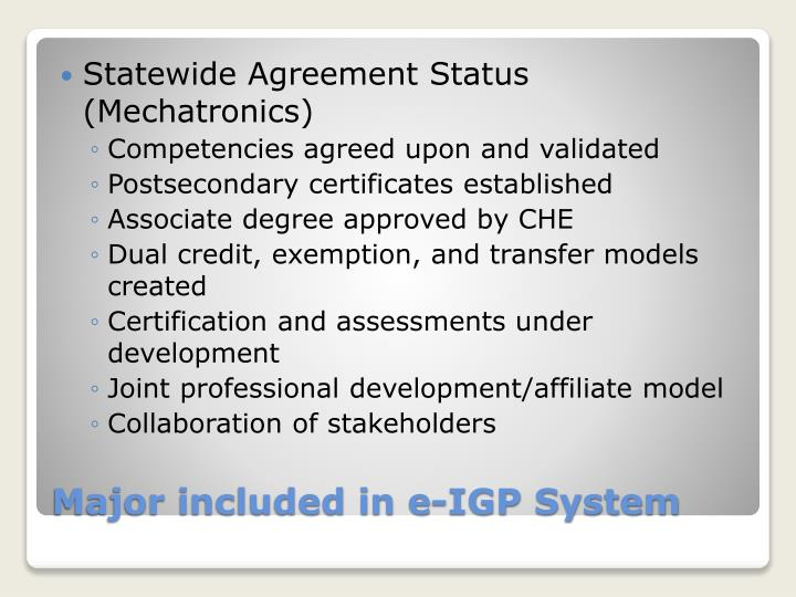 Statewide Agreement Status (Mechatronics)
