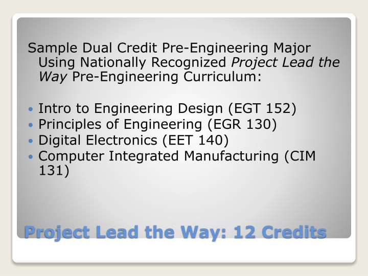 Sample Dual Credit Pre-Engineering Major Using Nationally Recognized