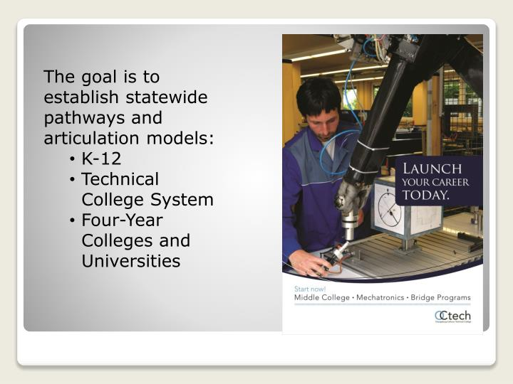 The goal is to establish statewide pathways and articulation models: