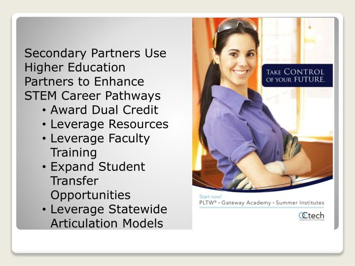 Secondary Partners Use Higher Education Partners to Enhance STEM Career Pathways