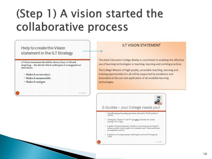 (Step 1) A vision started the collaborative process