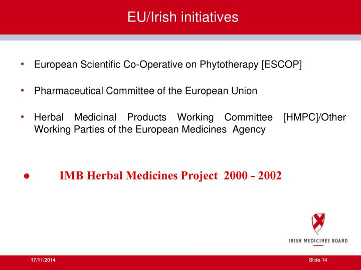EU/Irish initiatives