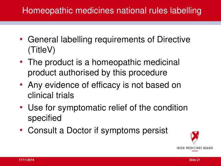 Homeopathic medicines national rules labelling