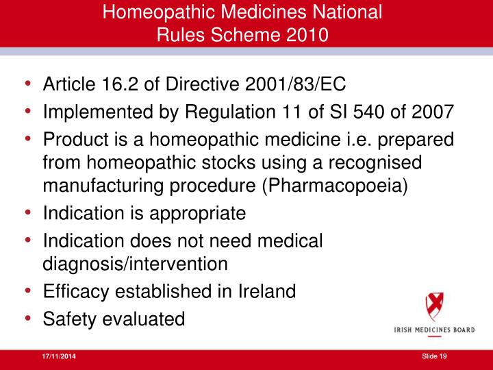 Homeopathic Medicines National Rules Scheme 2010