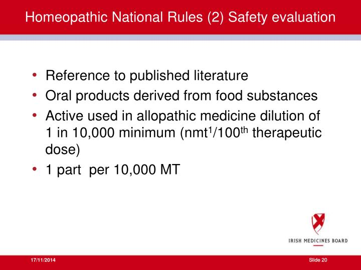Homeopathic National Rules (2) Safety evaluation