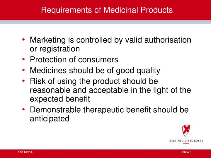Requirements of Medicinal Products