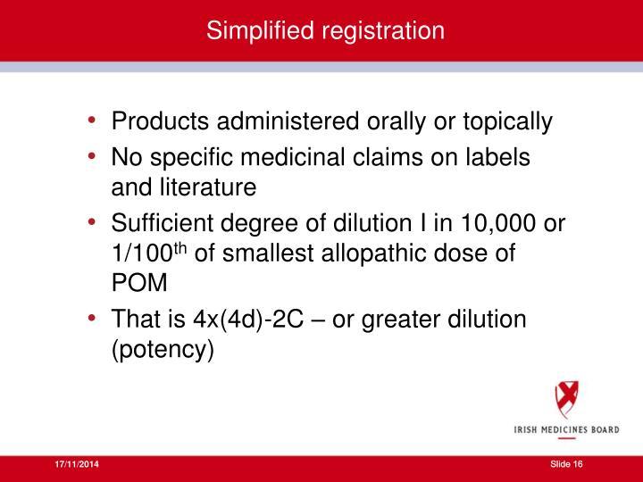 Simplified registration