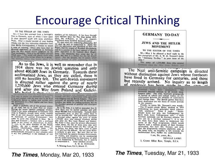 Encourage Critical Thinking
