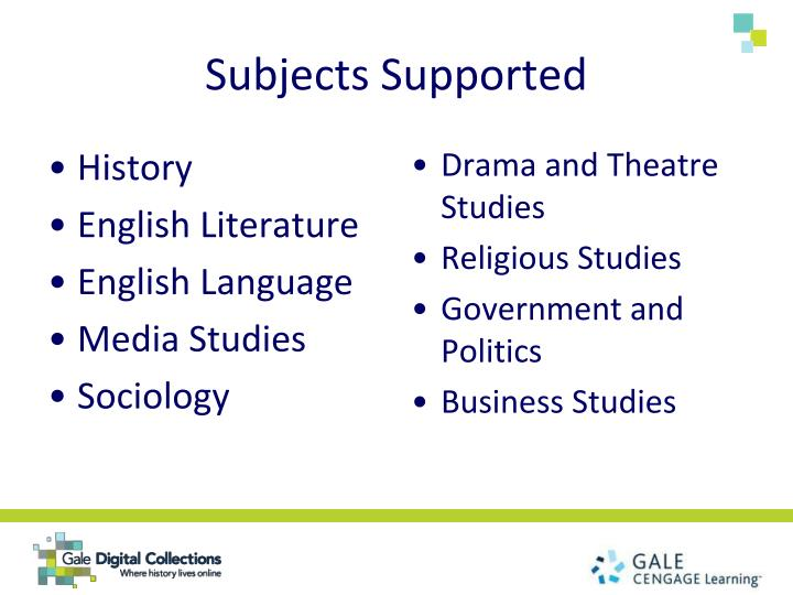 Subjects Supported