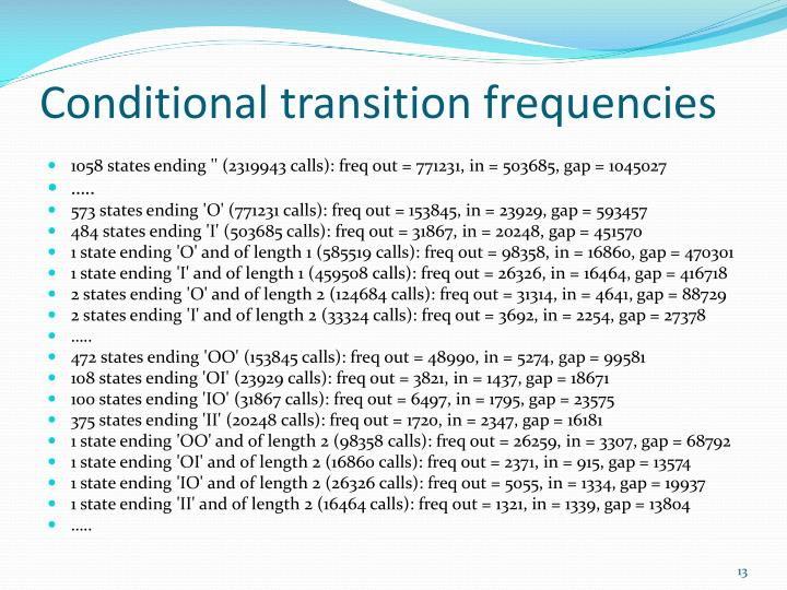 Conditional transition frequencies