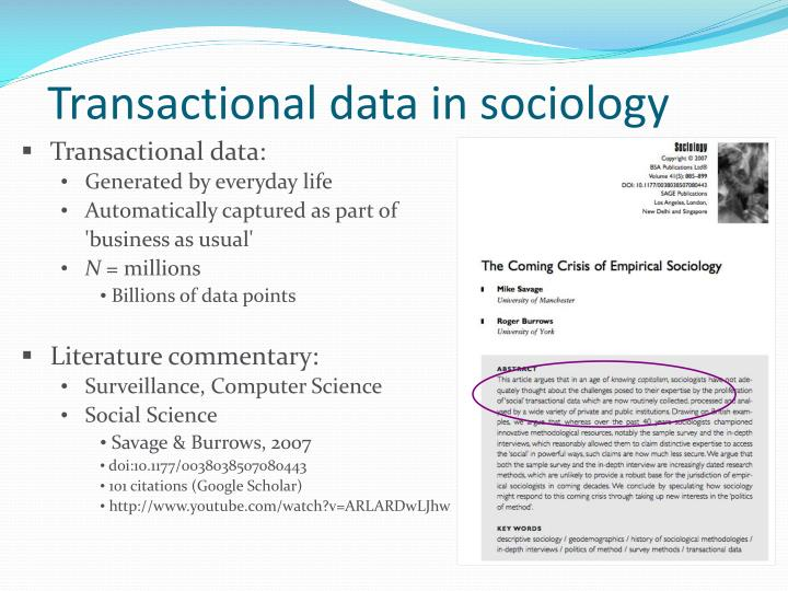Transactional data in sociology