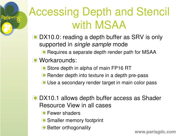 Accessing Depth and Stencil with MSAA