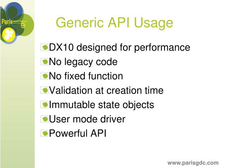 Generic API Usage