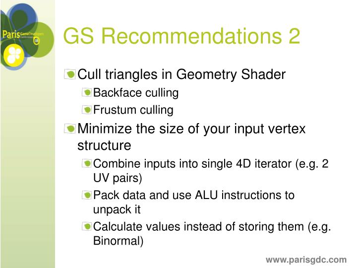 GS Recommendations 2