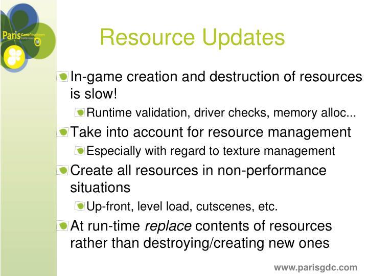Resource Updates