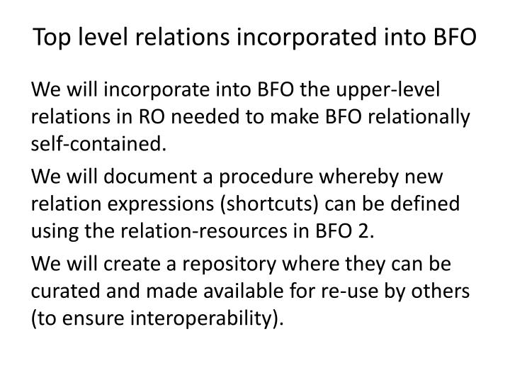 Top level relations incorporated into BFO