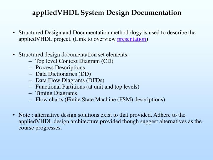 appliedVHDL System Design Documentation