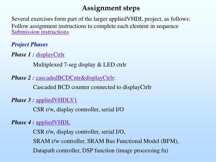 Assignment steps