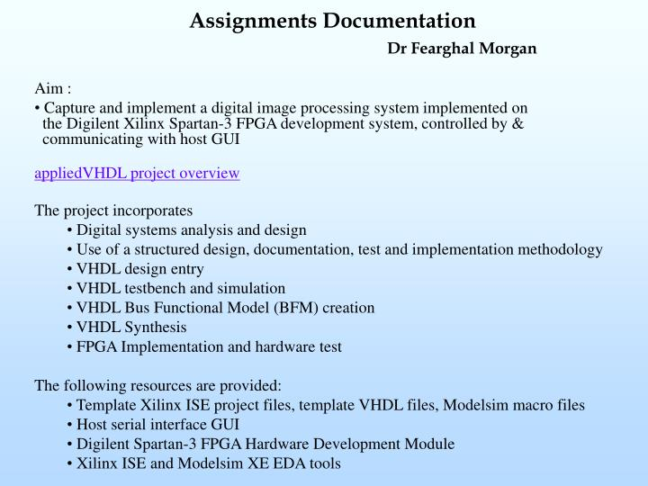 Assignments documentation dr fearghal morgan