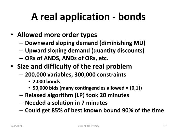 A real application - bonds